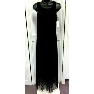 Harlow Dress Gown Black Sleeveless Lace Fringe Hem